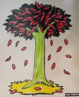 black and red tree