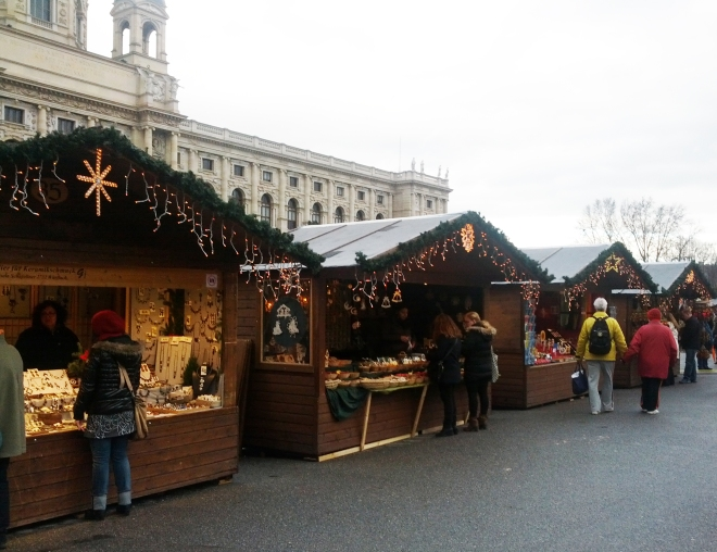 My last Christmas Market of the year located between the Museum of Natural History and the Museum of Art in Vienna.
