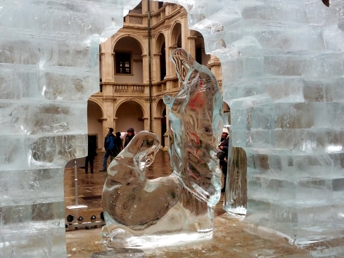 The annual nativity scene ice sculpture in Graz