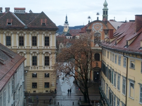 View from the hill in Graz City Center