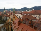 Charming rooftops viewed from the hill in the center Graz, Austria.