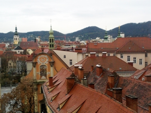 Charming rooftops viewed from the hill in the center Graz
