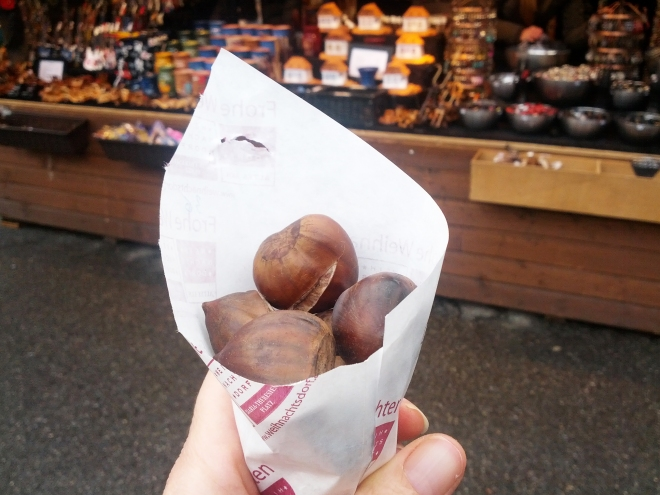 Maroni, or roasted chestnuts.  A holiday favorite and my last sampling of the season.