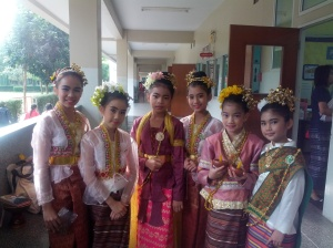 Some of my beautiful students all dressed up for a traditional dance